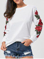 Long Sleeve Floral Applique Tunic Sweatshirt