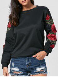 Long Sleeve Floral Applique Tunic Sweatshirt - BLACK