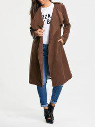 Long Belted Wrap Faux Suede Trench Coat