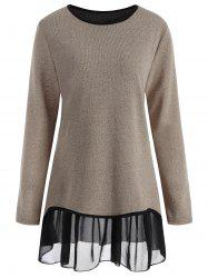 Plus Size Overlay Drop Waist Knitwear - CAMEL 4XL