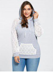 Pocket Lace Raglan Sleeve Plus Size Hoodie - GRAY