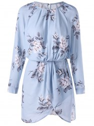 Floral Long Sleeve Blouson Dress - PANTONE TURQUOISE