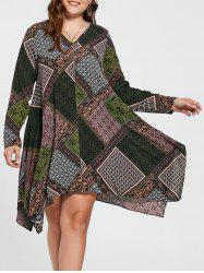 Plus Size Geometric Handkerchief Dress