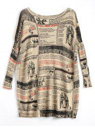 Plus grand format journal imprimé vintage long pull - Abricot TAILLE MOYENNE