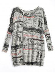 Plus Size Newspaper Printed Vintage Long Sweater