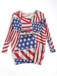 American Flag Knit Patriotic Plus Size Sweater -