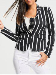 One Button Vertical Stripe Blazer