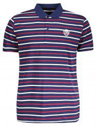 Stripe Mens Polo Shirt - PURPLISH BLUE L