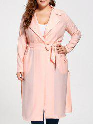 Tie Belt Plus Size Trench Coat