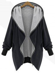 Hooded Plus Size Zip Up Coat