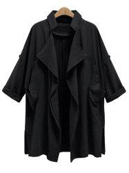 Plus Size Front Drape Trench Coat