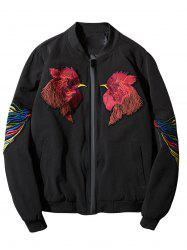 Cock Embroidered Applique Zip Up Jacket - BLACK 3XL