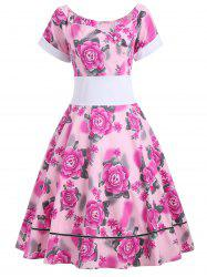 Empire Waist Flower Print 50s Swing Dress - Frutti de Tutti L