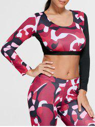 Camouflage Printed Sports Long Sleeve Crop Top - Rouge L