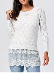 Pullover Hollow Out Lace Panel Argyle Ribbed Sweater - Blanc XL