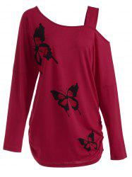 Butterfly Skew Neck Drop Shoulder Plus Size Top - RED 3XL