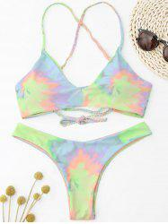 Criss Cross Tie Dye Braided Bikini Set - LIGHT YELLOW S