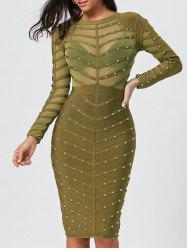 Long Sleeve Rivet Semi Sheer Bandage Dress -