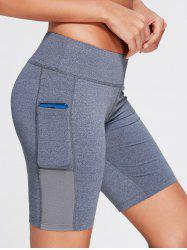 Elastic Waist Sports Shorts with Pocket -