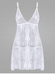 Lace Split Sheer Slip Babydoll -