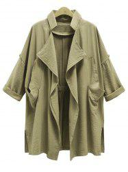 Plus Size Front Drape Trench Coat -