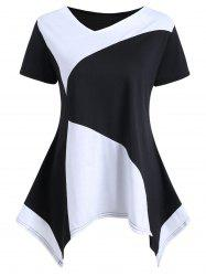 Asymmetrical Color Block Tunic Tee -