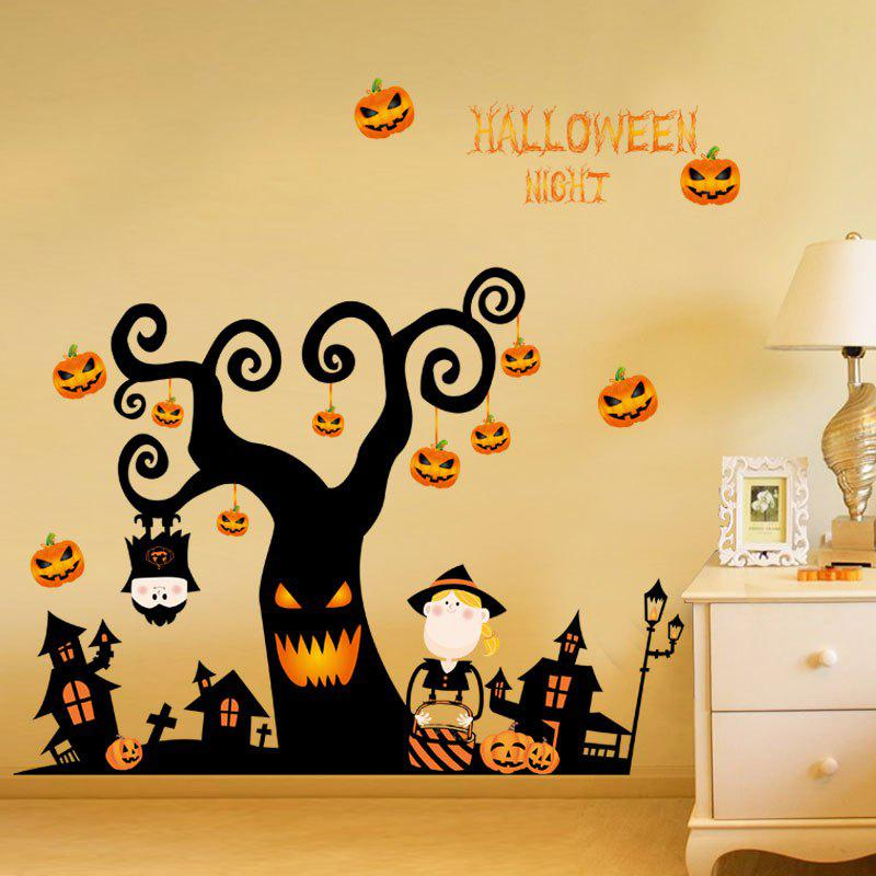 DIY Cartoon Halloween Tree Shape Decoration Wall StickersHOME<br><br>Color: BLACK; Wall Sticker Type: Plane Wall Stickers; Functions: Decorative Wall Stickers; Theme: Halloween; Material: PVC; Feature: Removable; Weight: 0.3000kg; Package Contents: 1 x Wall Stickers (Set);