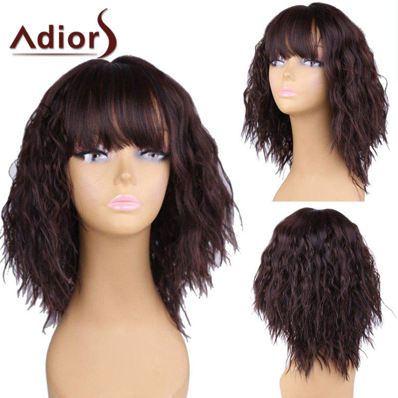 Adiors Short Neat Bang Shaggy Natural Wave Bob Synthetic WigHAIR<br><br>Color: BROWN; Type: Full Wigs; Cap Construction: Capless; Style: Wavy; Material: Synthetic Hair; Bang Type: Full; Length: Short; Length Size(CM): 36; Weight: 0.2000kg; Package Contents: 1 x Wig;