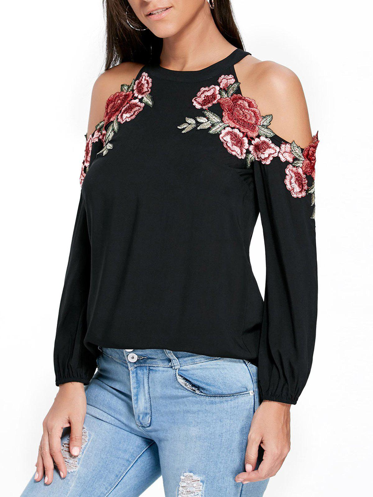 Applique Embroidery Open Shoulder TopWOMEN<br><br>Size: 2XL; Color: BLACK; Material: Rayon; Shirt Length: Regular; Sleeve Length: Full; Collar: Crew Neck; Style: Casual; Embellishment: Appliques,Embroidery; Pattern Type: Floral; Season: Fall,Spring,Summer; Weight: 0.2100kg; Package Contents: 1 x Top;