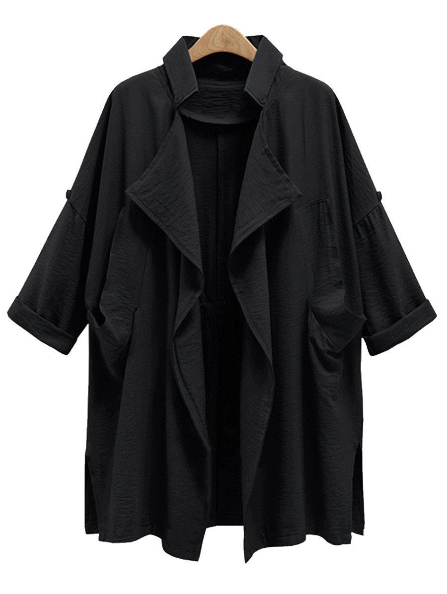 Plus Size Front Drape Trench CoatWOMEN<br><br>Size: 4XL; Color: BLACK; Clothes Type: Trench; Material: Polyester; Type: Wide-waisted; Shirt Length: Regular; Sleeve Length: Full; Collar: Stand-Up Collar; Pattern Type: Solid; Style: Fashion; Season: Fall,Spring,Winter; Weight: 0.4900kg; Package Contents: 1 x Coat;