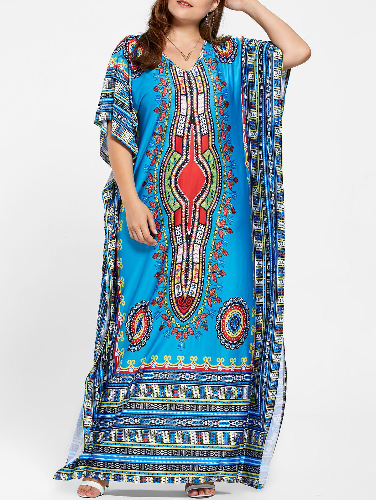 Tribal V Neck Plus Size Long Kaftan DressWOMEN<br><br>Size: ONE SIZE; Color: BLUE; Style: Bohemian; Material: Polyester; Silhouette: Straight; Dresses Length: Floor-Length; Neckline: V-Neck; Sleeve Type: Butterfly Sleeve; Sleeve Length: Short Sleeves; Pattern Type: Print; With Belt: No; Season: Summer; Weight: 0.5200kg; Package Contents: 1 x Dress;