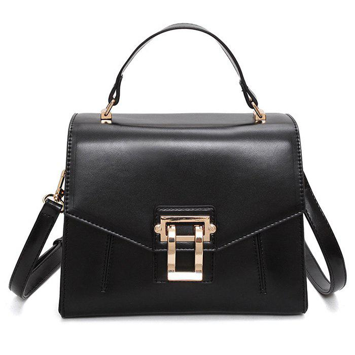 Trendy Metal Embellished Faux Leather Handbag