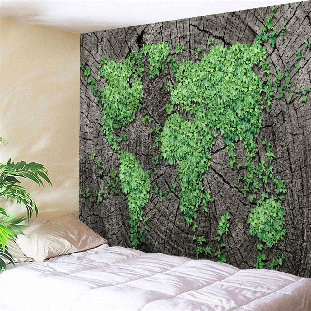 Chic Stump Plants World Map Bedroom Wall Tapestry