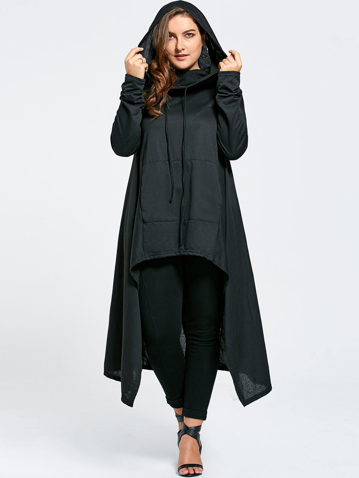 Plus Size Maxi Asymmetric Funnel Collar HoodieWOMEN<br><br>Size: 4XL; Color: BLACK; Material: Cotton Blend,Polyester; Shirt Length: X-Long; Sleeve Length: Full; Style: Fashion; Pattern Style: Solid; Season: Fall,Winter; Weight: 0.5800kg; Package Contents: 1 x Hoodie;