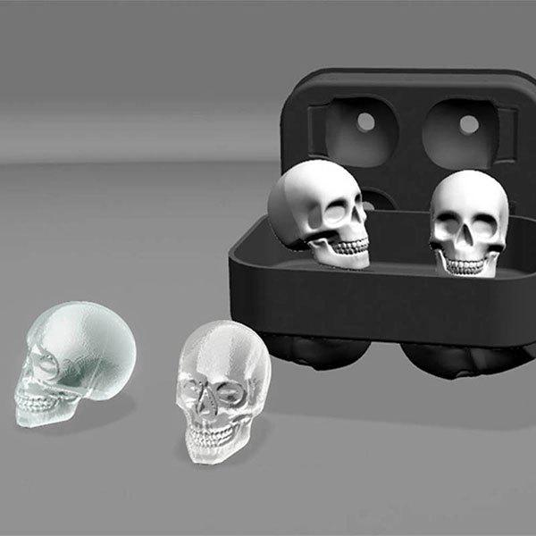Halloween 3D Skull Silicone Ice Cube TrayHOME<br><br>Color: BLACK; Type: Ice Cube Tray; Material: Silicone; Weight: 0.1170kg; Package Contents: 1 x  Ice Cube Tray;