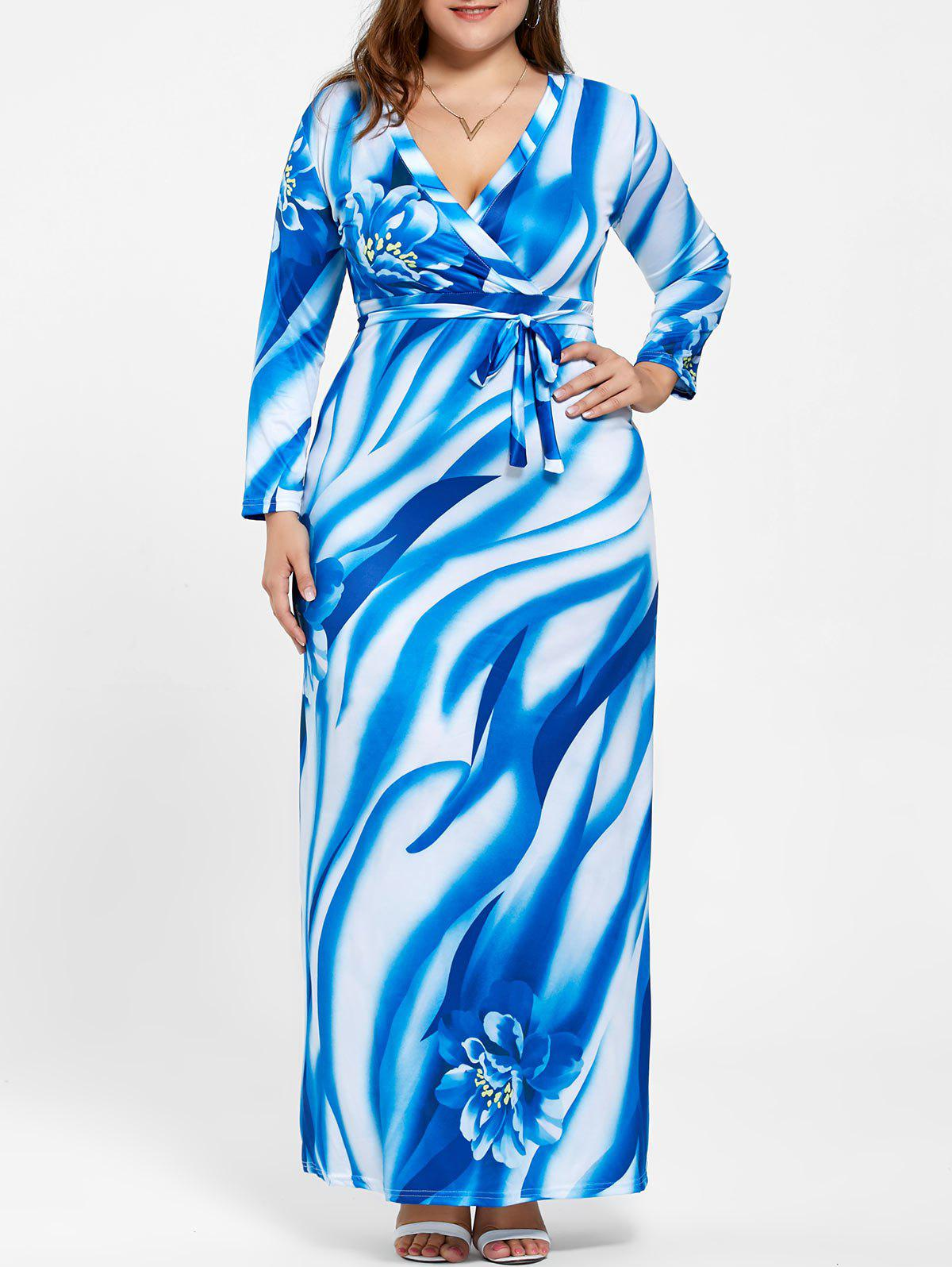 Plus Size Surplice Long Sleeve Print Pattern DressWOMEN<br><br>Size: 5XL; Color: BLUE; Style: Cute; Material: Nylon,Polyester,Spandex; Silhouette: A-Line; Dresses Length: Floor-Length; Neckline: Plunging Neck; Sleeve Length: Long Sleeves; Pattern Type: Floral; With Belt: Yes; Season: Fall,Spring; Weight: 0.4000kg; Package Contents: 1 x Dress  1 x Belt;
