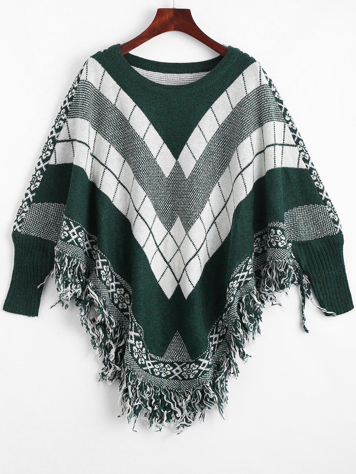 Fringed Geometric Poncho Plus Size SweaterWOMEN<br><br>Size: ONE SIZE; Color: BLACKISH GREEN; Type: Pullovers; Material: Polyester,Spandex; Sleeve Length: Full; Collar: Round Neck; Style: Fashion; Season: Fall; Pattern Type: Geometric; Weight: 0.5500kg; Package Contents: 1 x Sweater;
