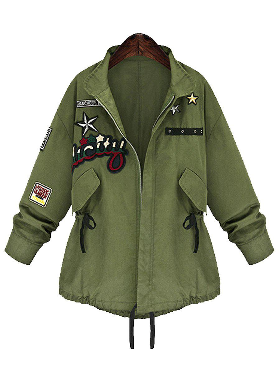 Zip Up Plus Size Patched CoatWOMEN<br><br>Size: 5XL; Color: ARMY GREEN; Clothes Type: Others; Material: Polyester; Type: Wide-waisted; Shirt Length: Regular; Sleeve Length: Full; Collar: Stand-Up Collar; Pattern Type: Others; Style: Fashion; Season: Fall,Winter; Weight: 0.4750kg; Package Contents: 1 x Coat;