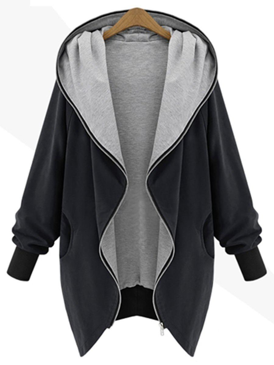 Hooded Plus Size Zip Up CoatWOMEN<br><br>Size: XL; Color: BLACK; Clothes Type: Others; Material: Polyester; Type: Wide-waisted; Shirt Length: Long; Sleeve Length: Full; Collar: Hooded; Pattern Type: Solid; Style: Casual; Season: Fall,Winter; Weight: 0.4700kg; Package Contents: 1 x Coat;