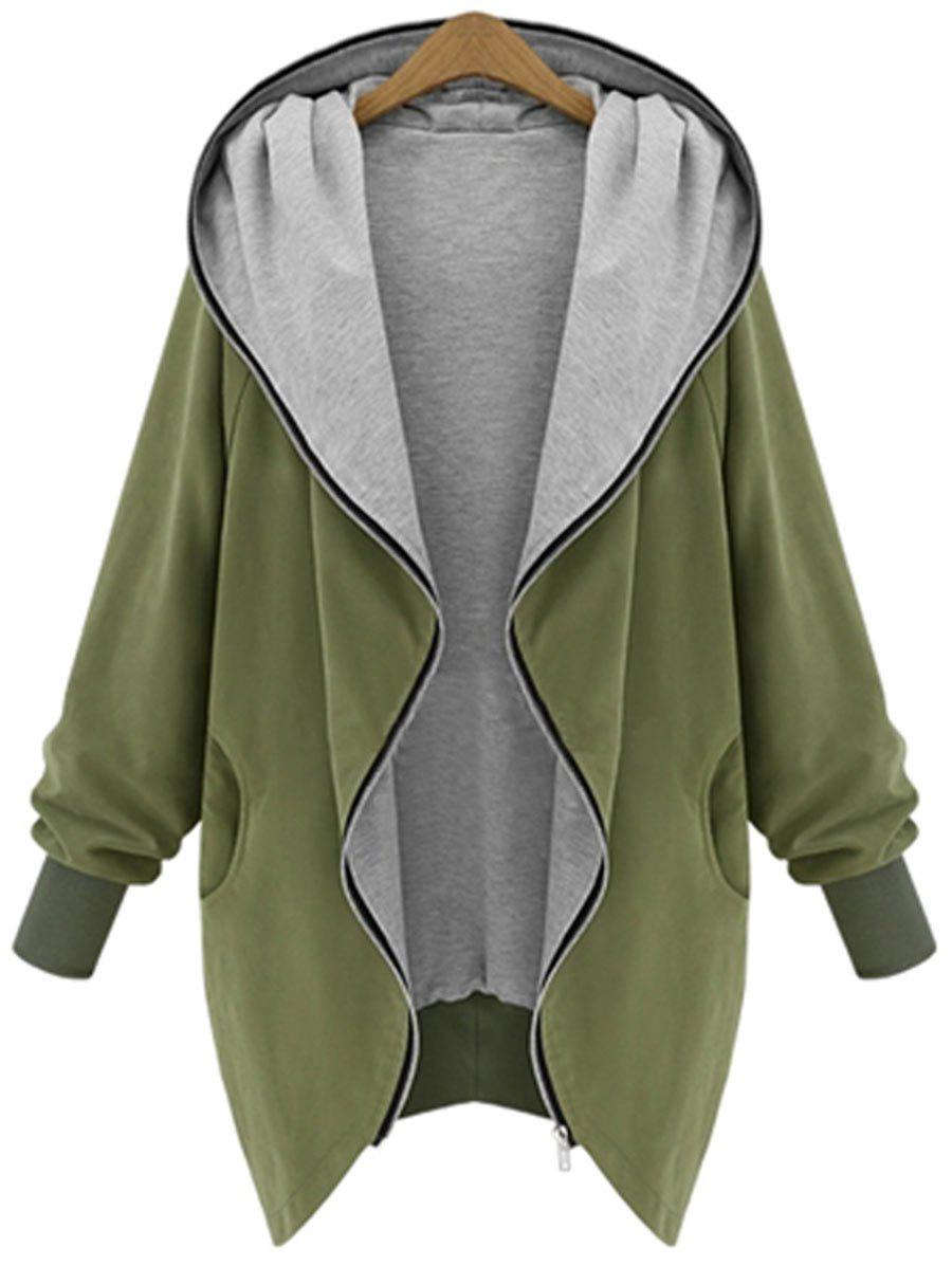Hooded Plus Size Zip Up CoatWOMEN<br><br>Size: 5XL; Color: ARMY GREEN; Clothes Type: Others; Material: Polyester; Type: Wide-waisted; Shirt Length: Long; Sleeve Length: Full; Collar: Hooded; Pattern Type: Solid; Style: Casual; Season: Fall,Winter; Weight: 0.4700kg; Package Contents: 1 x Coat;