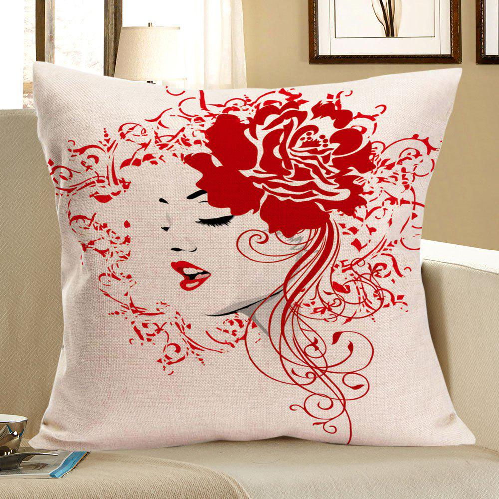 Flower Girl Printed Square Pillow CaseHOME<br><br>Size: W18 INCH * L18 INCH; Color: RED; Material: Linen; Pattern: Floral; Style: Trendy; Shape: Square; Weight: 0.0800kg; Package Contents: 1 x Pillow Case;