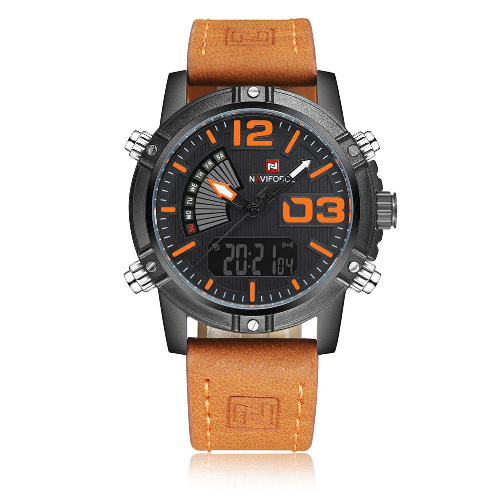 Store NAVIFORCE 9095 Faux Leather Strap Luminous Analog Digital Watch