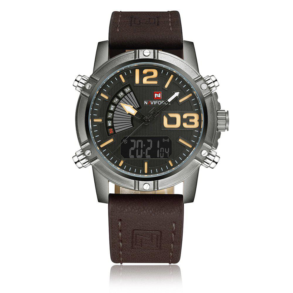 New NAVIFORCE 9095 Faux Leather Strap Luminous Analog Digital Watch