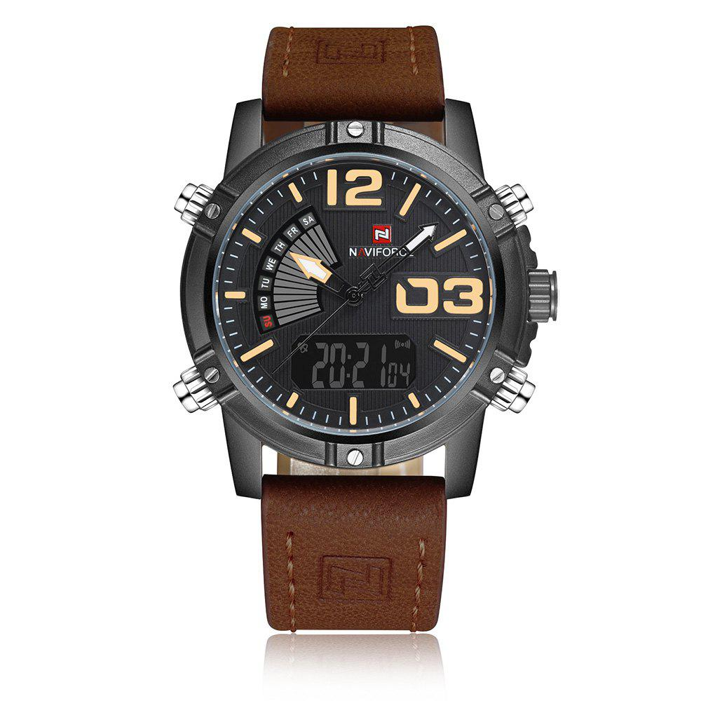 Shop NAVIFORCE 9095 Faux Leather Strap Luminous Analog Digital Watch