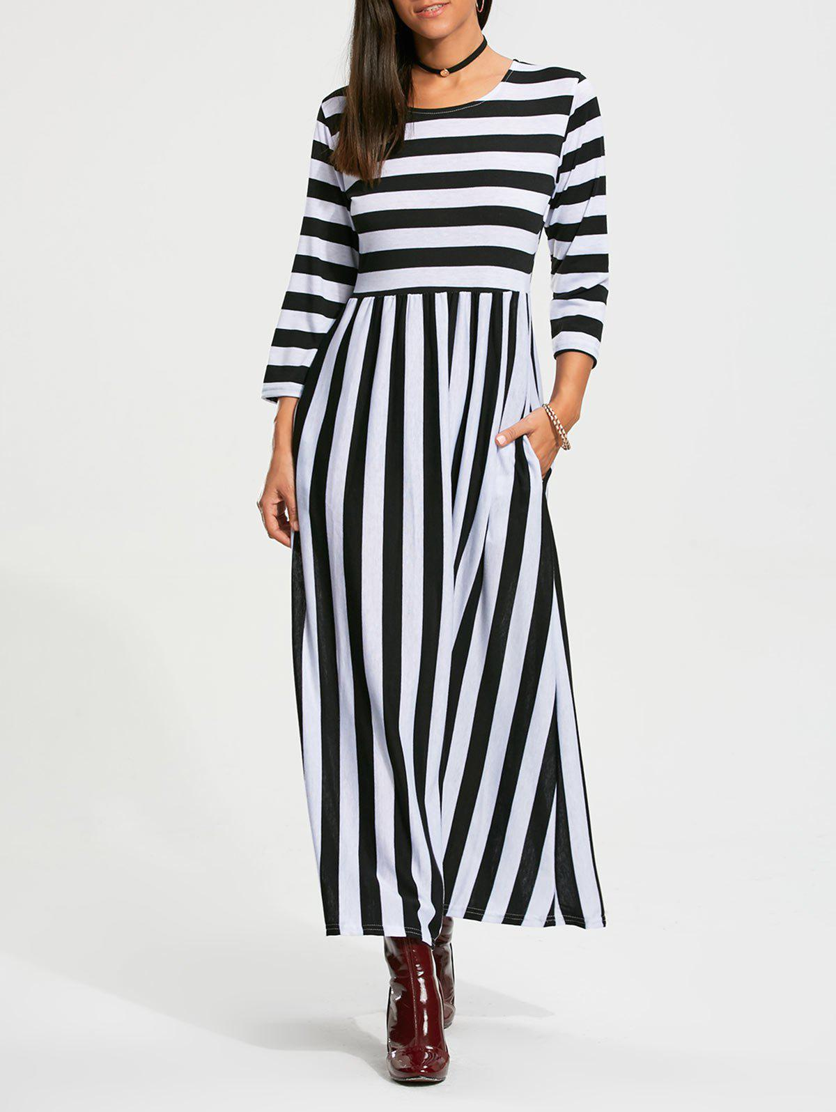 Affordable High Waist Stripe Maxi Dress with Pocket
