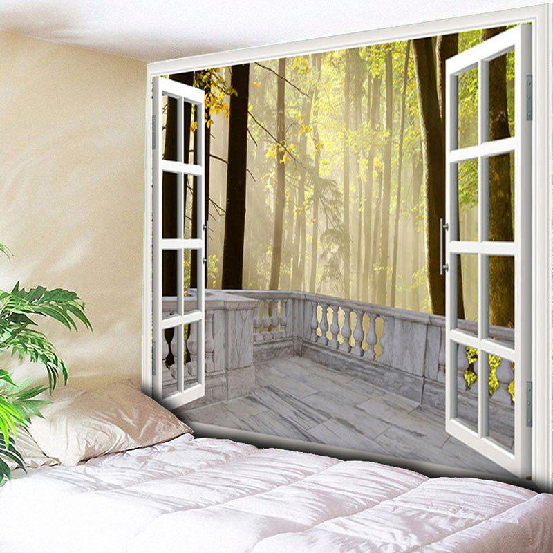 Wall Hanging Window Forest Printed TapestryHOME<br><br>Size: W79 INCH * L59 INCH; Color: YELLOW; Style: Natural; Material: Cotton,Polyester; Feature: Removable,Washable; Shape/Pattern: Forest; Weight: 0.3000kg; Package Contents: 1 x Tapestry;