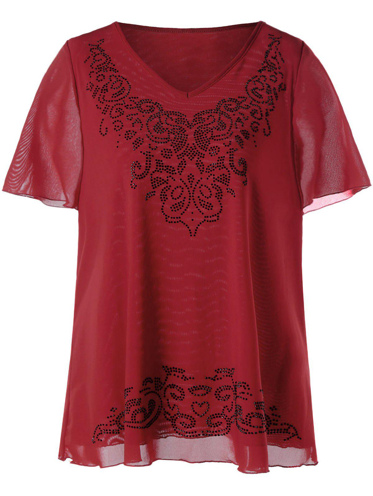 Plus Size V-neck Rhinestone Embellished TopWOMEN<br><br>Size: 4XL; Color: RED; Material: Cotton,Polyester; Shirt Length: Regular; Sleeve Length: Short; Collar: V-Neck; Style: Fashion; Season: Summer; Embellishment: Rhinestone; Pattern Type: Others; Weight: 0.2600kg; Package Contents: 1 x Top;