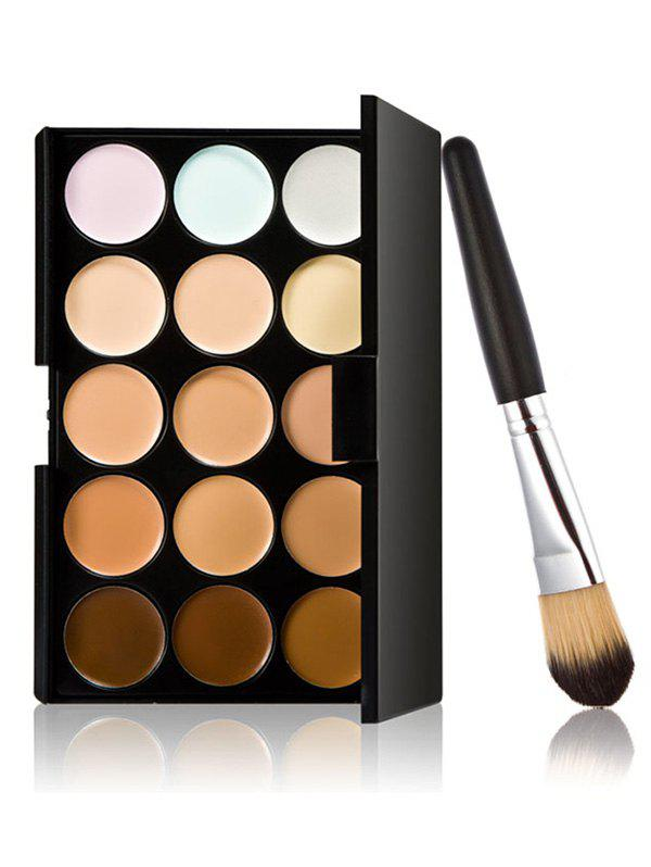 15 Colours Cream Concealer Palette with Foundation BrushBEAUTY<br><br>Color: MULTI; Category: Concealer; Type: Cream; Season: Fall,Spring,Summer,Winter; Size(CM)(L*W*H): 15.5*12.5*1.3cm; Weight: 0.1500kg; Package Contents: 1 x Concealer Palette 1 x Brush;
