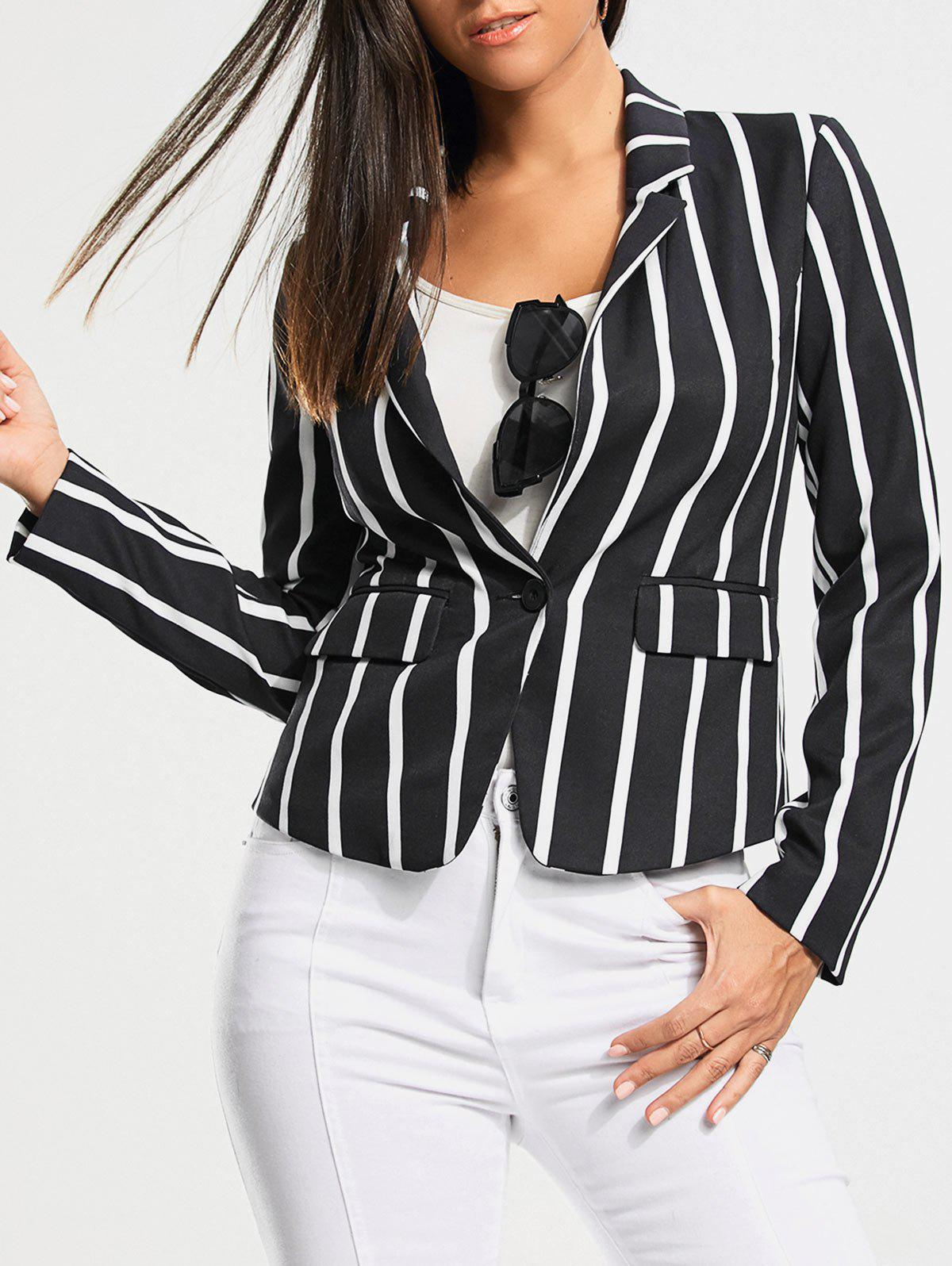 Outfits One Button Vertical Stripe Blazer