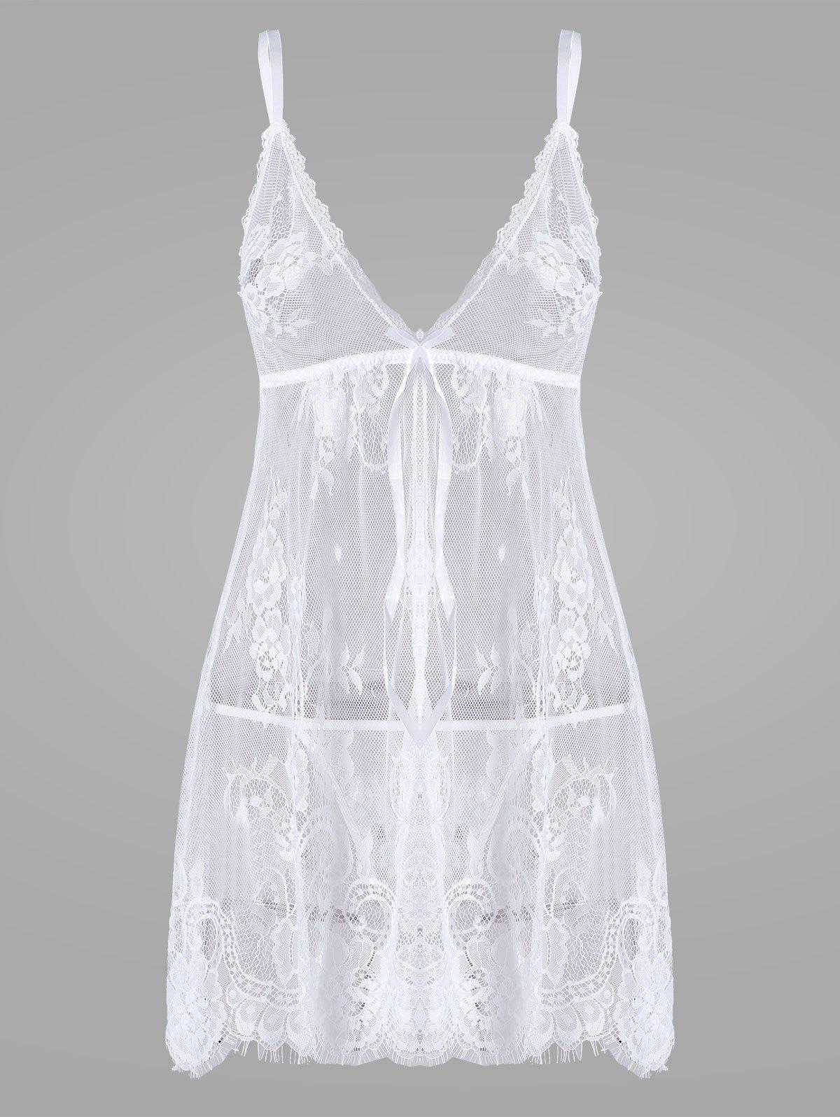 Hot Lace Split Sheer Slip Babydoll